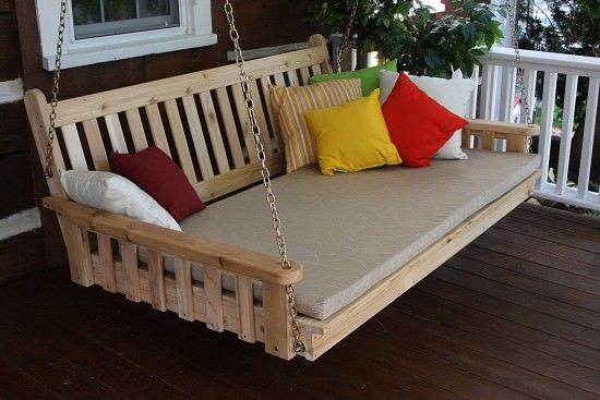 BEST CEDAR HANGING PORCH SWING BED
